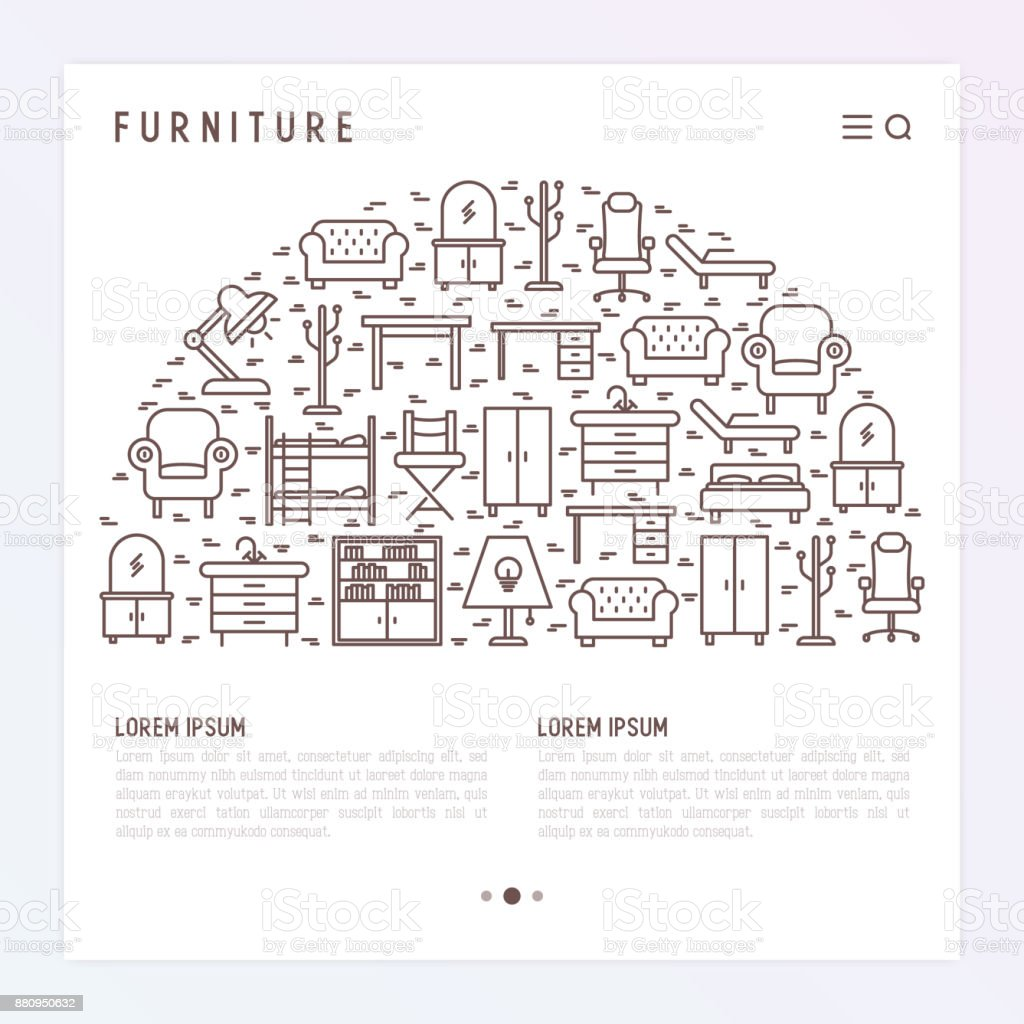 Furniture Concept In Half Circle With Thin Line Icons Of
