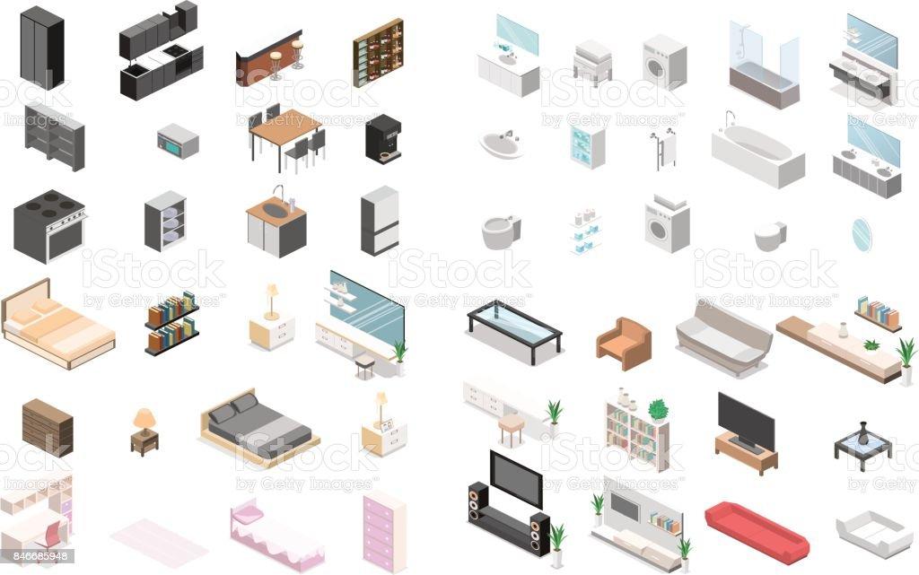Constructeur de mobilier pour la création d'une salle de bains, salon, chambre, cuisine - Illustration vectorielle