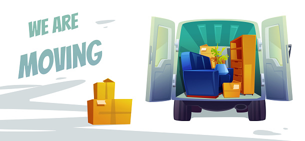 Furniture delivery, moving house service poster
