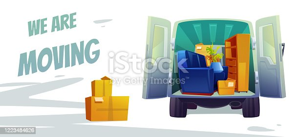 istock Furniture delivery, moving house service poster 1223484626