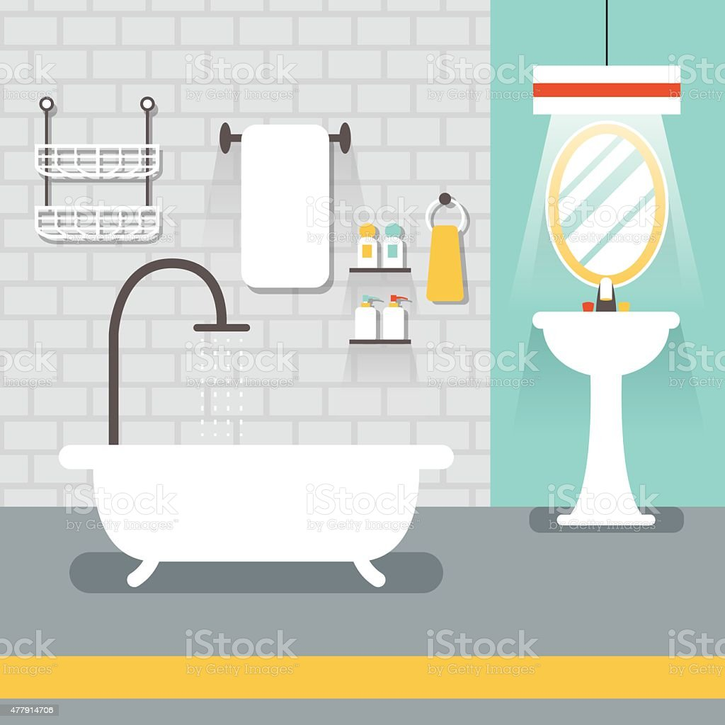 Furniture Display in Room : Bathroom vector art illustration