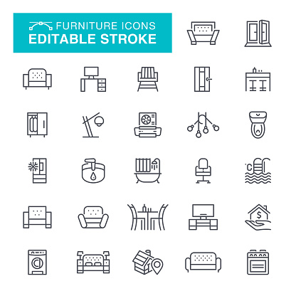 Furniture Editable Stroke Icons
