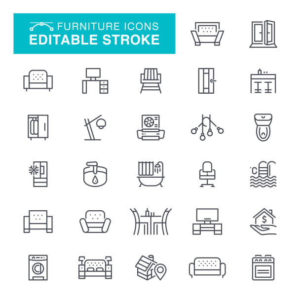 Furniture Editable Stroke Icons Furniture, Home Showcase Interior, Sofa, Editable Stroke Icon Set interior designer stock illustrations