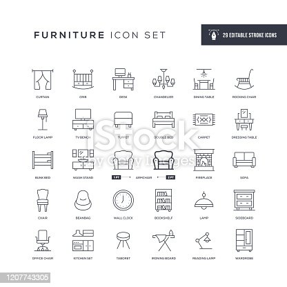 29 Furniture Icons - Editable Stroke - Easy to edit and customize - You can easily customize the stroke with