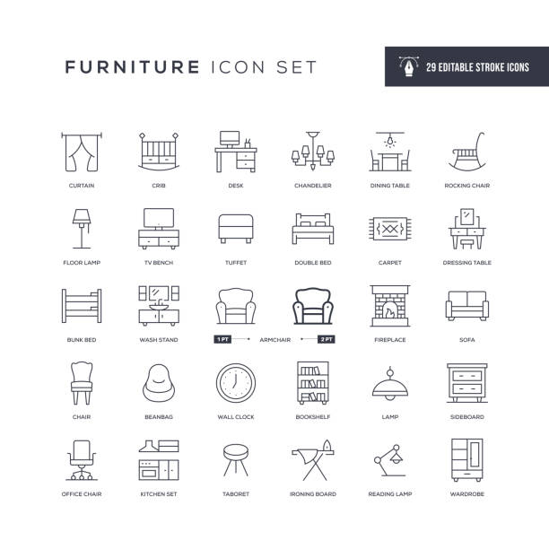 Furniture Editable Stroke Line Icons 29 Furniture Icons - Editable Stroke - Easy to edit and customize - You can easily customize the stroke with bed furniture stock illustrations