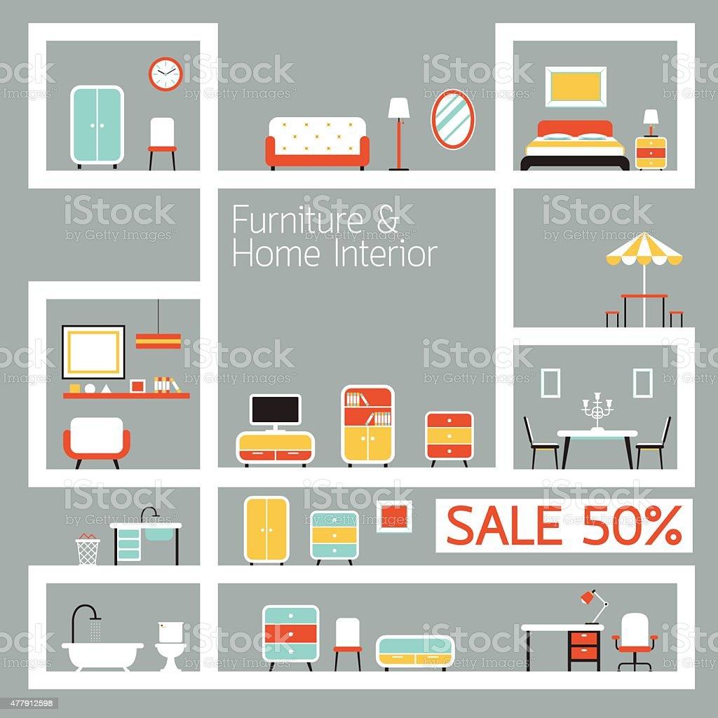 Furniture Flat Design on Shelf Display, Frame vector art illustration