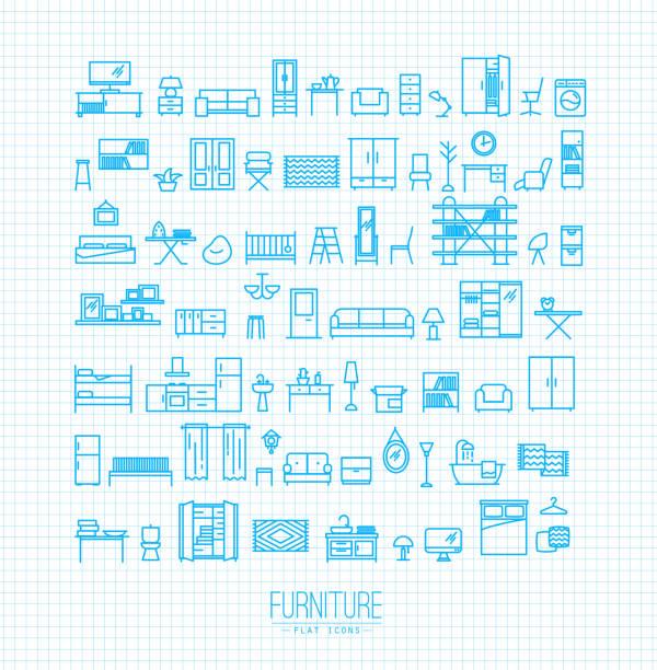 möbel flache symbole blau - waschküchendekorationen stock-grafiken, -clipart, -cartoons und -symbole