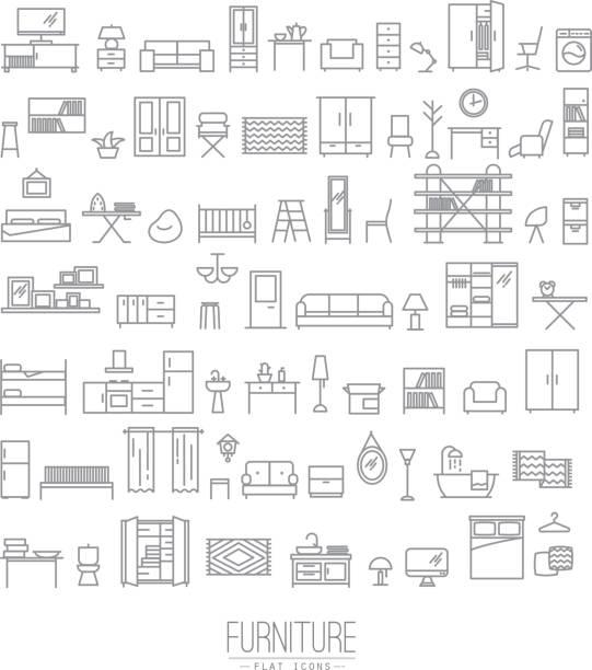 illustrazioni stock, clip art, cartoni animati e icone di tendenza di mobili icone piatto grigio - kitchen room