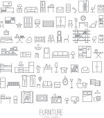 Furniture flat icons grey