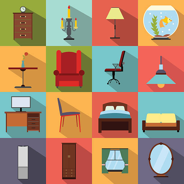 Furniture flat icons set Furniture flat icons set. Colored simbols for living room bed furniture stock illustrations