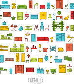 Furniture flat icons