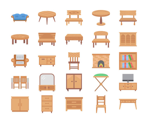 ilustrações de stock, clip art, desenhos animados e ícones de furniture flat vector icons - sideboard
