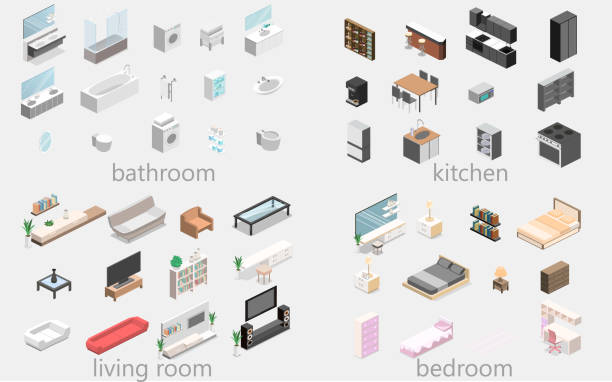 Furniture for apartment. Isometric flat 3D isolated concept vector cutaway Furniture for an apartment. Isometric flat 3D isolated concept vector cutaway Constructor for creating a bathroom, living room, bedroom, kitchen bedroom silhouettes stock illustrations