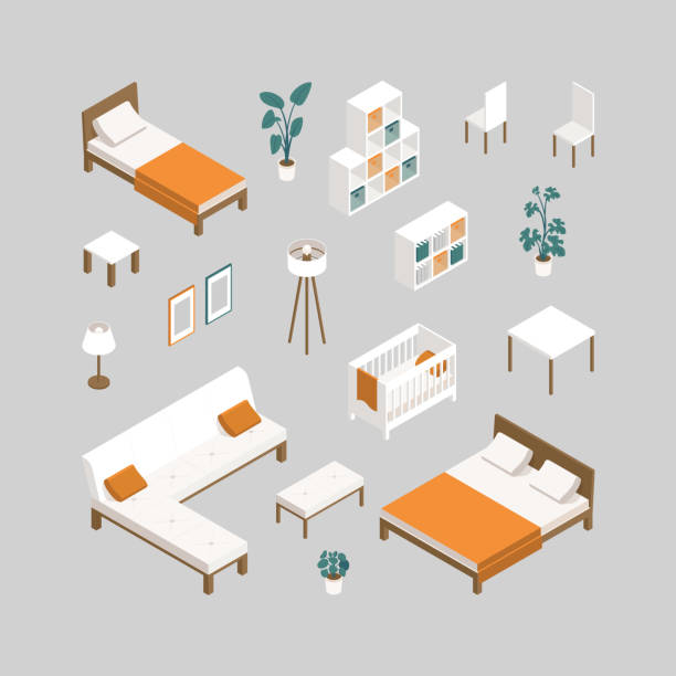 Furniture for interior design of residential and office premises: bed, sofa, couch,  table, plants, chair, wardrobe, lamp, cot Set of furniture for bedroom, nursery, living room, kitchen in isometry. Furniture for interior design of residential and office premises: bed, sofa, couch,  table, plants, chair, wardrobe, lamp, cot bed furniture stock illustrations