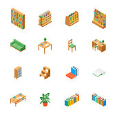 Furniture for Library 3d Icons Set Isometric View Include of Book, Bookshelf, Bookcase, Table, Chair, Textbook and Lamp. Vector illustration