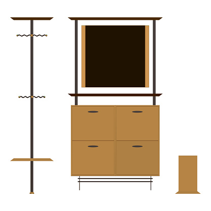 Furniture for the hallway room. Wardrobe with a mirror and shelves, clothes hanger. Front view. Vector illustration.
