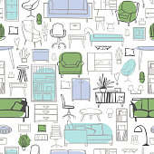 Furniture for the home. Vector   pattern