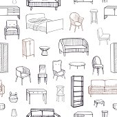 Furniture for the home. Vector  seamless pattern