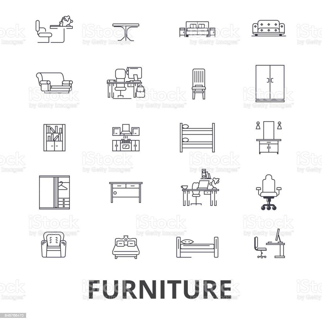 Möbel Möbeldesign Interieur Stuhl Büromöbel Wohnzimmer Linie Symbole ...