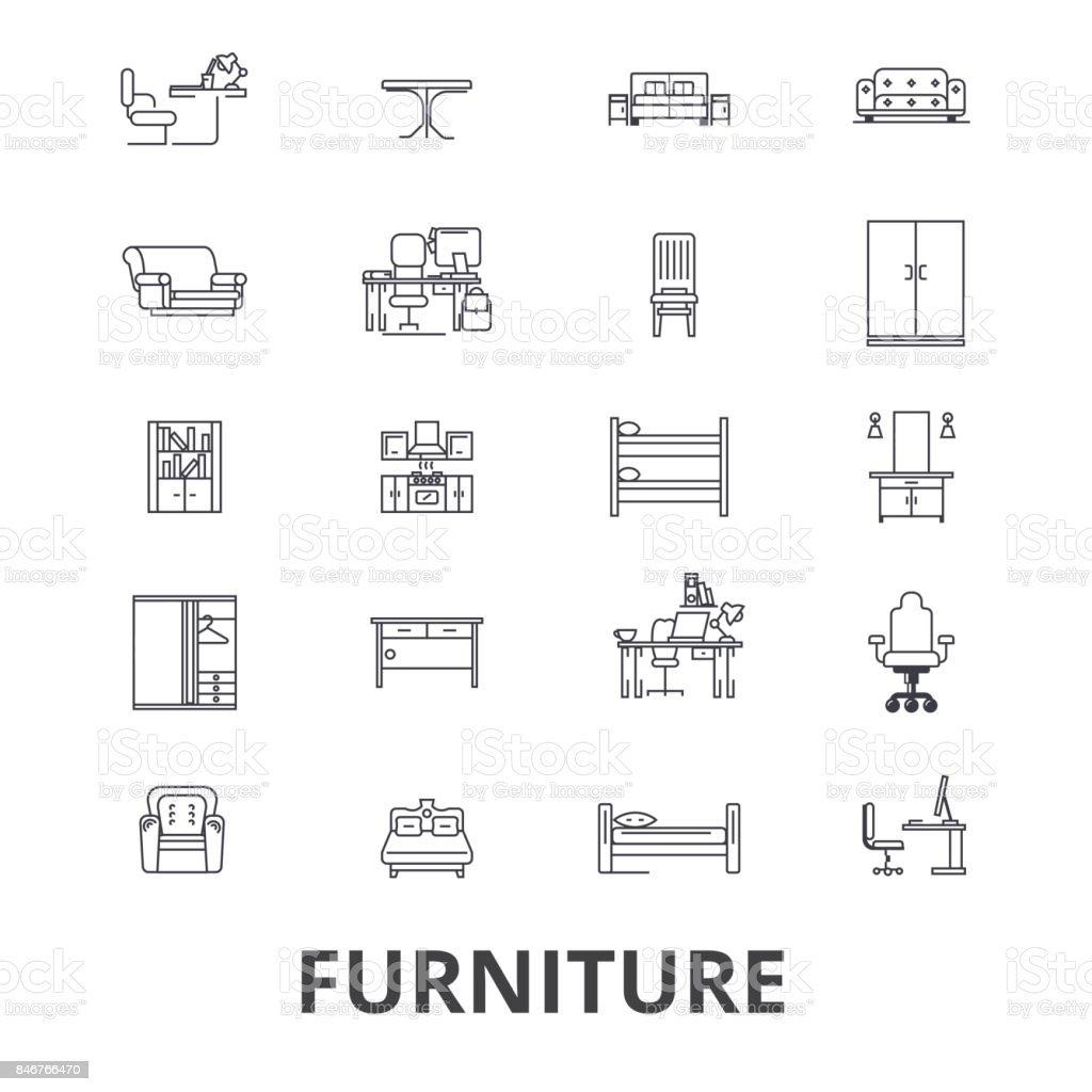 Furniture, furniture design, interior, chair, office furniture, living room line icons. Editable strokes. Flat design vector illustration symbol concept. Linear signs isolated vector art illustration
