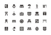 Furniture - Glyph Icons - Vector EPS 10 File, Pixel Perfect 24 Icons.