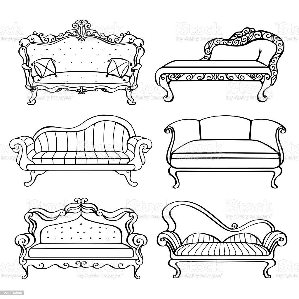 Pleasant Furniture Hand Drawn Set Vintage Sofa Couch Stock Lamtechconsult Wood Chair Design Ideas Lamtechconsultcom