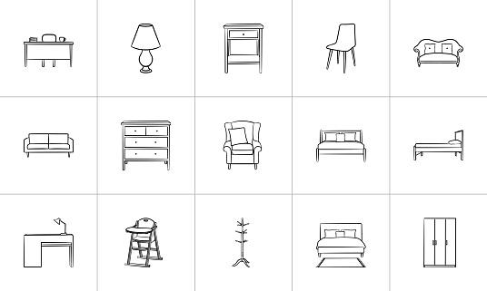 Furniture hand drawn sketch icon set