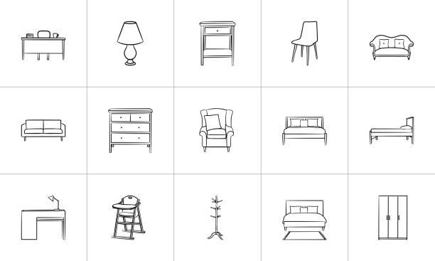 illustrazioni stock, clip art, cartoni animati e icone di tendenza di furniture hand drawn sketch icon set - mobilio