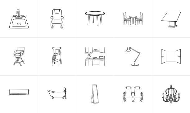 möbel handgezeichnete skizze icon-set - sonnenstuhl stock-grafiken, -clipart, -cartoons und -symbole