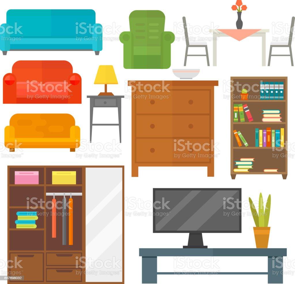 Möbel Symbolsatz Wohnkultur Indoor Kabinett Innenraum Bibliothek ...