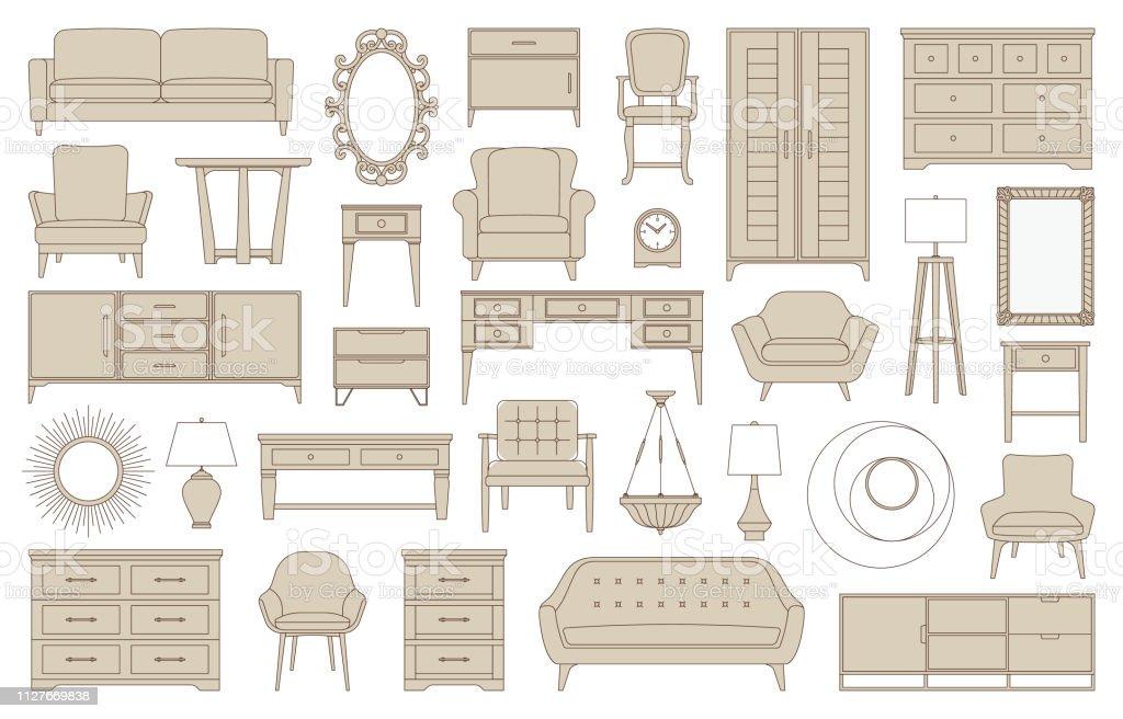 Living room, bedroom, kitchen furniture icons, interior design, home...