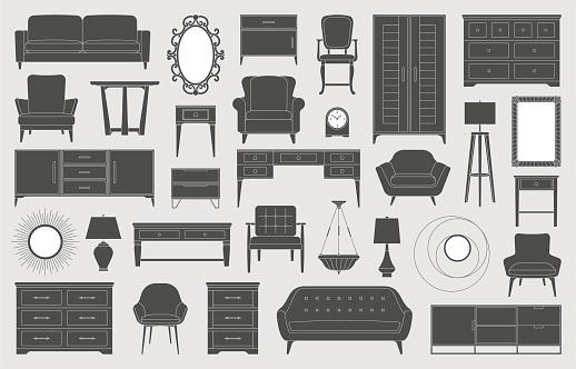 Furniture home decor interior design living room bedroom icons