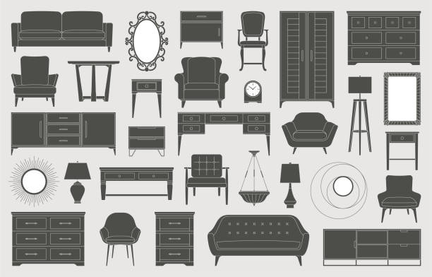Furniture home decor interior design living room bedroom icons Living room, bedroom, kitchen furniture icons, interior design, home decor, sofas, beds, chairs, mirrors, table lamps, floor lamps, tables and more bedroom patterns stock illustrations