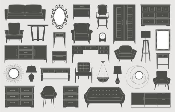 家具インテリア インテリア デザイン リビング ルーム ベッドルーム アイコン - 椅子 家具点のイラスト素材/クリップアート素材/マンガ素材/アイコン素材