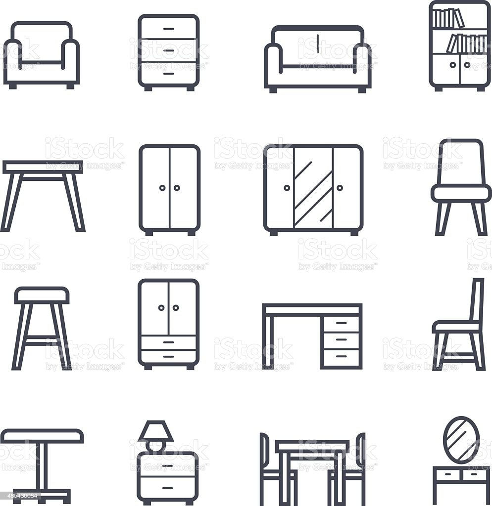 Furniture Icon Bold Stroke vector art illustration