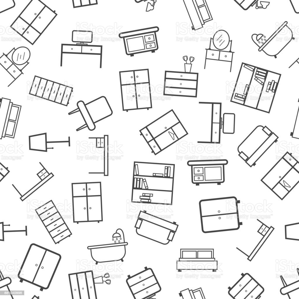 furniture icon seamless pattern background business flat vector Window Head Jamb furniture icon seamless pattern background business flat vector illustration home furniture sign symbol pattern illustration