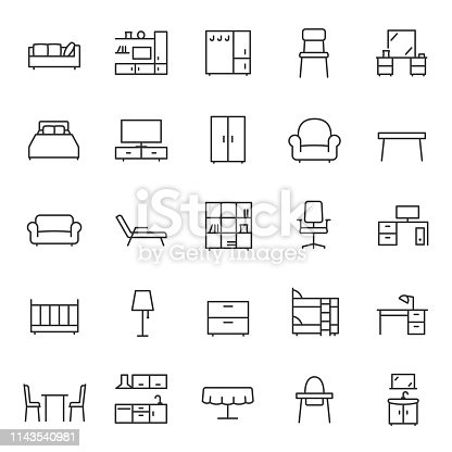 Furniture, icon set. Home interior, linear icons. Piece of furniture for the living room, bedroom, office, workplace, children's room and kitchen. Line with editable stroke