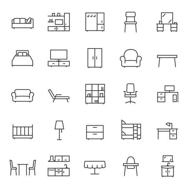 Furniture, icon set. Home interior, linear icons. Piece of furniture for the living room, bedroom, office, workplace, children's room and kitchen.Editable stroke Furniture, icon set. Home interior, linear icons. Piece of furniture for the living room, bedroom, office, workplace, children's room and kitchen. Line with editable stroke armchair stock illustrations