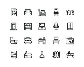 20 pixel perfect Furniture icon set in outline style