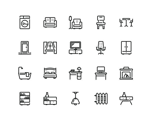 Furniture icon set, outline style 20 pixel perfect Furniture icon set in outline style interior designer stock illustrations