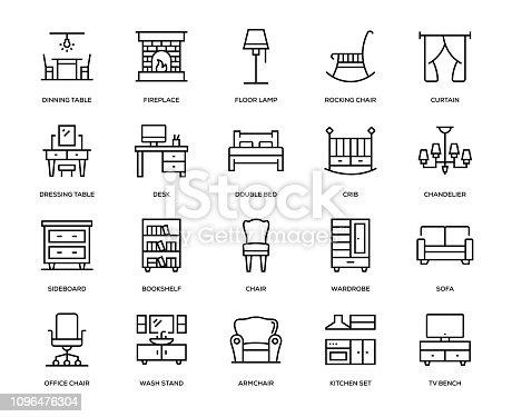 Furniture Icon Set - Thin Line Series