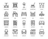 Furniture Icon Set - Thin Line Series