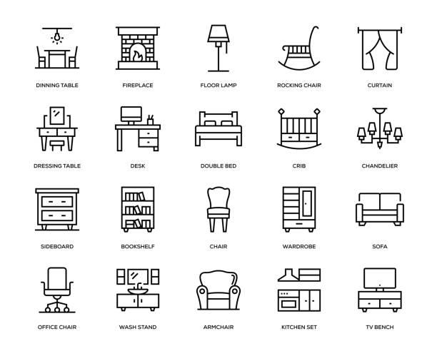 illustrazioni stock, clip art, cartoni animati e icone di tendenza di furniture icon set - kitchen room