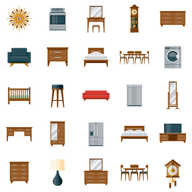 Furniture Icon Set A set of icons. File is built in the CMYK color space for optimal printing. Color swatches are global so it's easy to edit and change the colors. bed furniture stock illustrations
