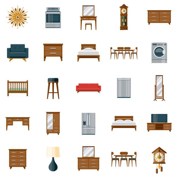 illustrazioni stock, clip art, cartoni animati e icone di tendenza di furniture icon set - mobilio