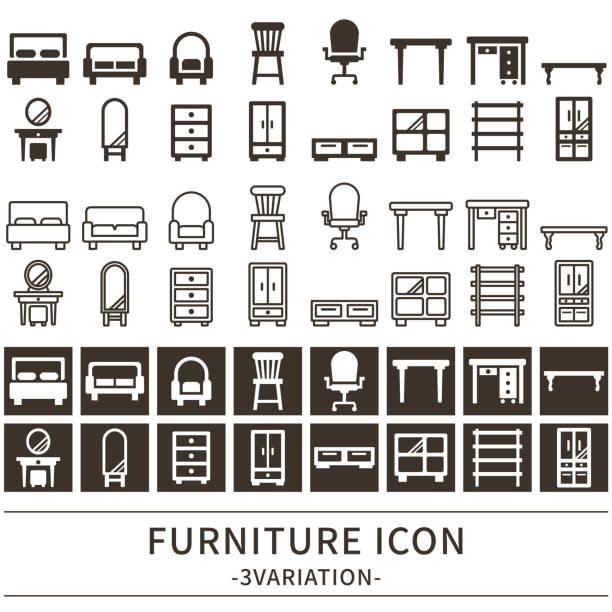 ilustrações de stock, clip art, desenhos animados e ícones de furniture icon - sideboard