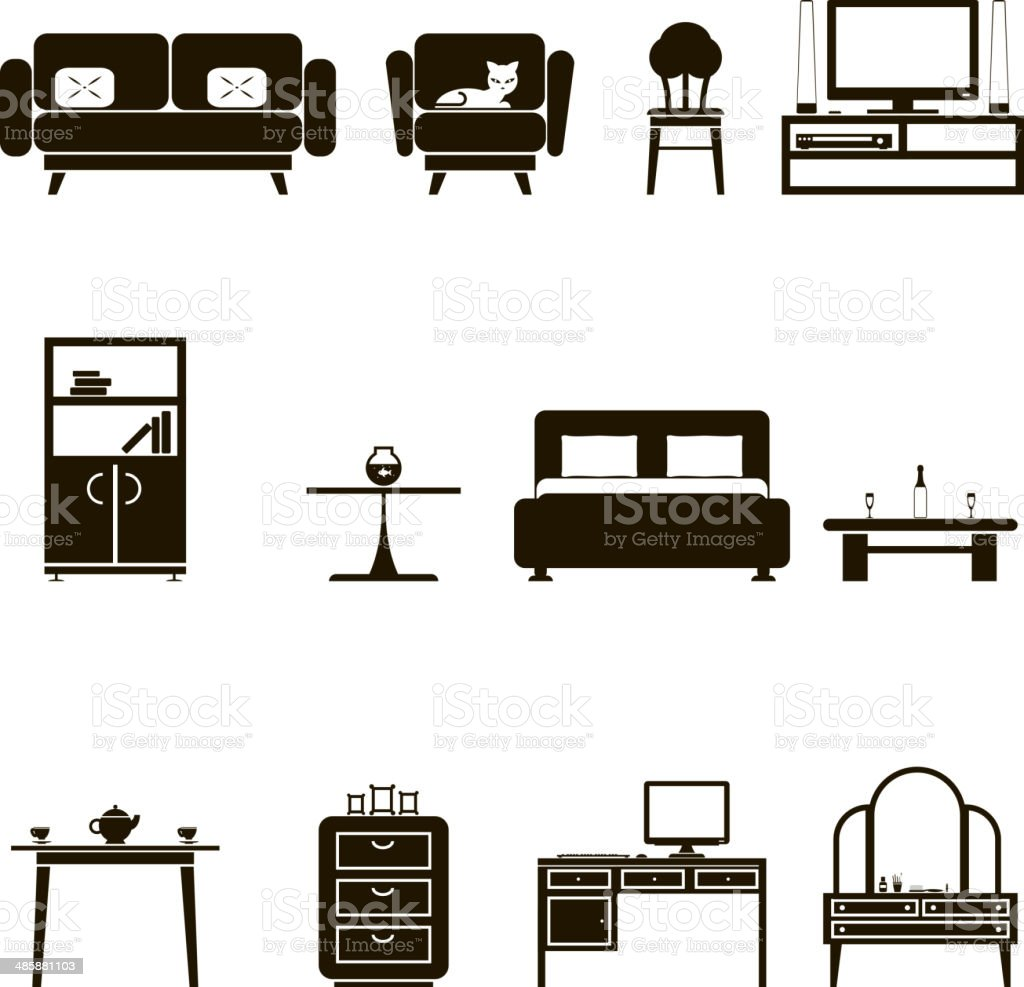 Furniture Icons and Symbols Isolated Silhouette Set Vector Illustration vector art illustration