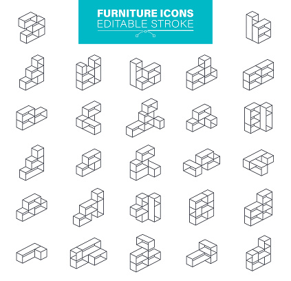 Furniture Icons Editable Stroke