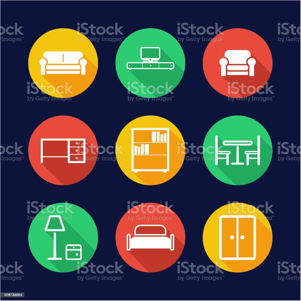 Furniture Icons Flat Design Circle vector art illustration