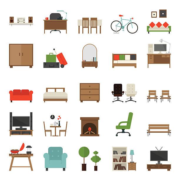 Furniture Icons Flat Design Furniture Icons Flat Design , vector. bed furniture stock illustrations